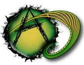 "A black letter ""A"" within a green and yellow circle. The sides of the circle are ragged and a tentacle like object is emerging from the circle."