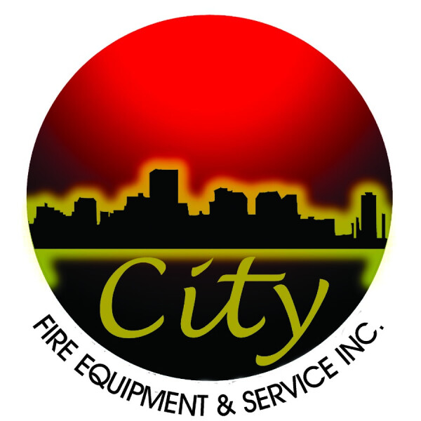 "Cityscape in the round with the company name ""City"" and underneath ""Fire Equipment & Service Inc."""