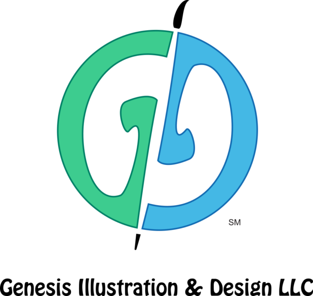 "A circle composed of the stylized letters ""G"" and ""D"" separated by a blank space shaped like an artist paint brush. the company name ""Genesis Illustration & Design LLC."" underneath the circle"